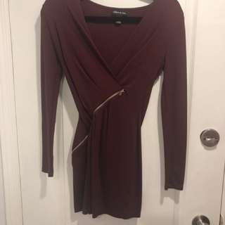 Maroon zipper wrap dress