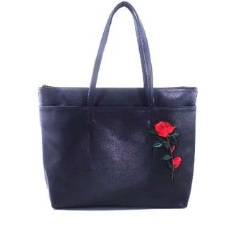 Synthetic Leather Tote Bag With Patches