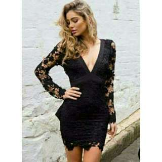Black Plunge Lace Dress