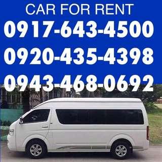 Van for rent hire rental car for rent hire rental rent a car outing team building foton traveller gl grandia vios
