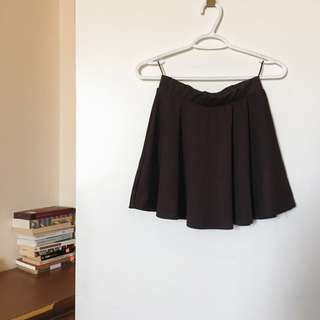 Brown Mini Skater Skirt