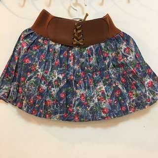 Floral Skirt With Gartered Belt