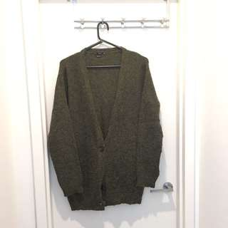 zara olive green long kintted sweater
