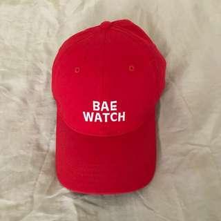 "Graphic Red ""Bae Watch"" Baseball Cap"