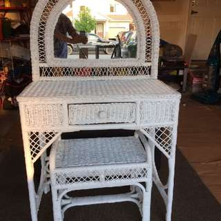 Wicker Dresser And Seat