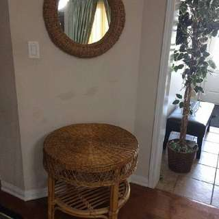 Wicker Table And Mirror