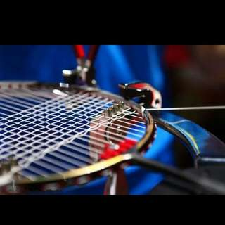 Badminton racket stringing service and grommets replaced