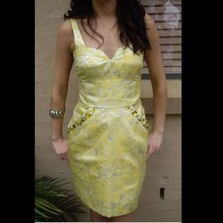 Grace And Hart Formal Cocktail Dress Small Yellow Bustier