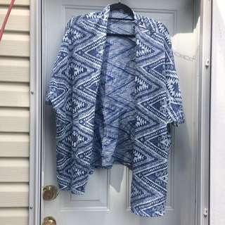 O/S Oversized Blue&White Aztec Print Shawl