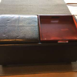 Ottoman with storage And Reversible tray