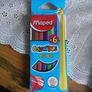 6色塑料蜡筆