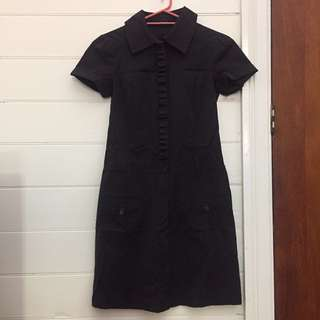CUE Black shirt dress