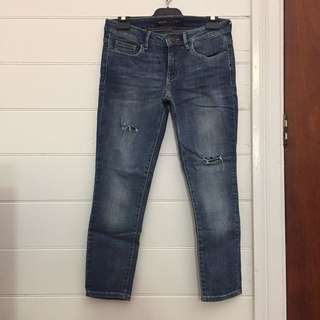 Guess ripped skinny cropped jeans