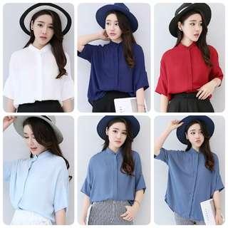 (PO) Plus Size Korean Chiffon Shirts