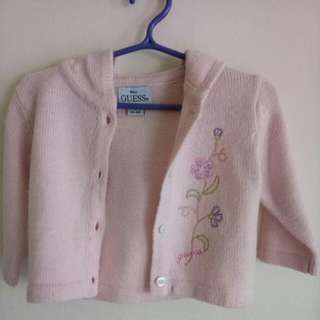 Guess Baby Pink Knitted Cardigan With Hood