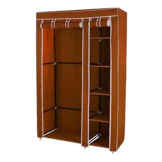 Portable Storage Organizer Clothes Rack With Shelves (Coffee)