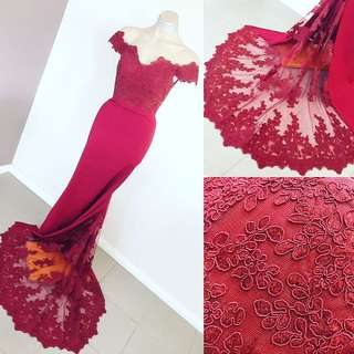 Jadore maroon wine red fishtail mermaid formal dress gown size 10 m (hire)