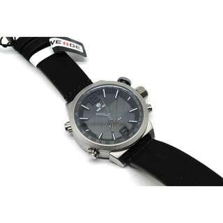 Weide Japan Quartz Leather Strap Men Sports Watch 30M Water Resistance - WH6101 - Black