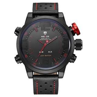 Weide Japan Quartz Miyota Men Leather Sports Watch 30M Water Resistance - WH5210