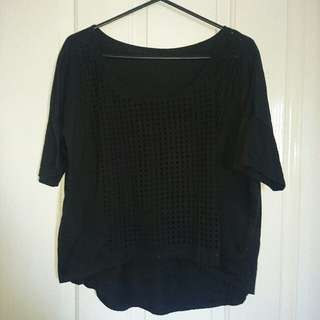 Black Top With Mesh Like Front