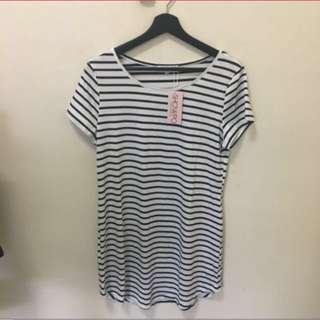 Showpo Striped Tshirt Dress Size Small