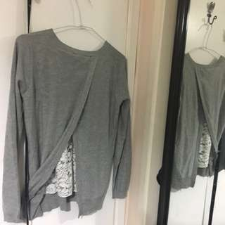 Grey Sweater With Lace On The Back