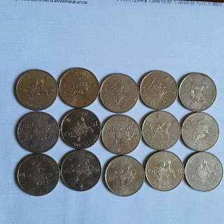 香港硬幣1997年 回歸 限量出版👉1元 在中國👉麒麟係鎮財之寶 🖐共15個