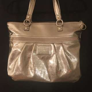 COACH POPPY 15286 Metallic Leather Tote/Shoulder Bag - Gold Large
