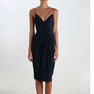 Zimmermann Silk Folded dress in French Navy Size 1 *Tailored*
