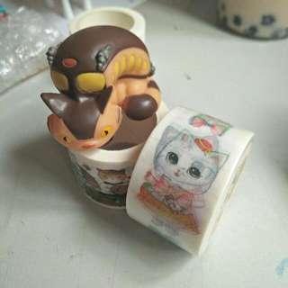 🚚 紙膠帶全新捲 - 愛麗絲茶會 - 花裙萌貓