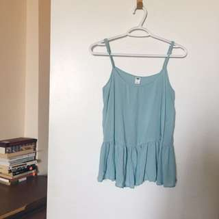 Turquoise Ruffle Sleeveless Top