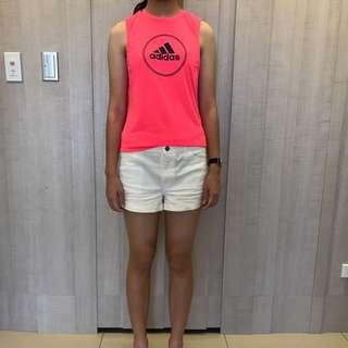 Adidas 女背心 螢光橘XS