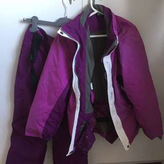 PRICEDROP Girls purple crane ski jacket and ski pants size 10-12
