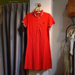 椿花二手衣-LYLE & SCOTT正紅POLO領洋裝 Retro