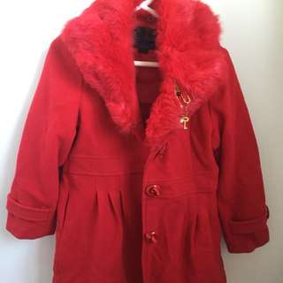 Girls red fur coat size 10-12