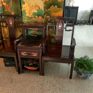 Chinese Rosewood Furniture. Used As Display In Home. condition good. Inspect To Check Value. Paid  Over $3000 For Set Of 2 Chairs And 1 Table. Prepared To Sell For $1200. PM To View. The Screen, I Will Sell For $450
