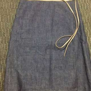Burberry Denim Wrap Around Skirt