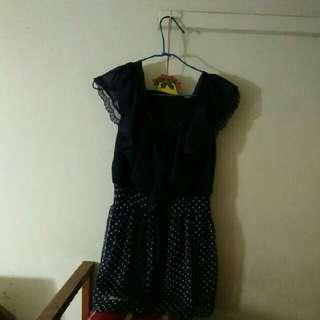 深藍色點點蝴蝶結洋裝
