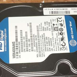 "WD6400AAKS SATA3  3.5""  640G 儲存碟 (二手)"