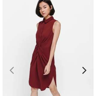 Love Bonito Olynne Ruched Shirt Dress (Dark Red) In XS