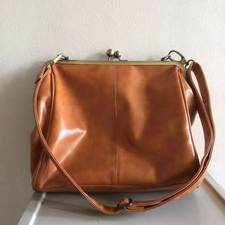 Vintage Purse Style Brown Leather Sling Bag