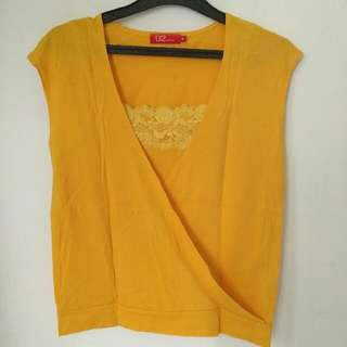 U2 Yellow Lace Top - Preloved