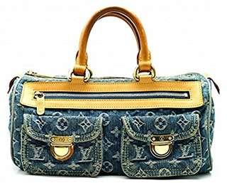 LOUIS VUITTON Monogram Denim Neo Speedy handbag mini Boston bag blue blue denim M95019  Used FREE SHIPPING FROM JAPAN