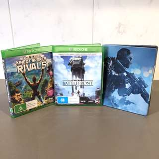 Xbox one ( Kinect sports rivals , Star Wars battlefront , Call of Duty Ghosts )
