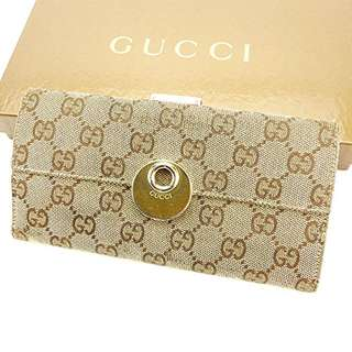 GUCCI wallet W hook Ladies GG canvas used J21217 USED  FREE SHIPPING FROM JAPAN