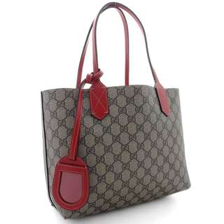 GUCCI (Gucci) GG Plus Reversible Small Tote Bag Shoulder Bag 372613 Beige Ebony Red Red GG Pattern PVC Coated Leather Shoulder Handbag Bag (Used) FREE SHIPPING FROM JAPAN