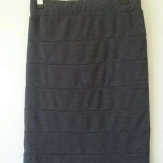Ladies Dark Grey bandage style bodycon skirt (size 8)