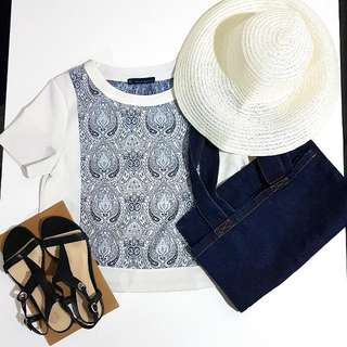 Nudie Jeans Co Tote Bag, Sandler Sandal Size 36, White & Blue Top, Beach Hat