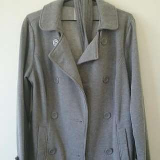 Ladies grey coat with buttons and waist tie (size 14)
