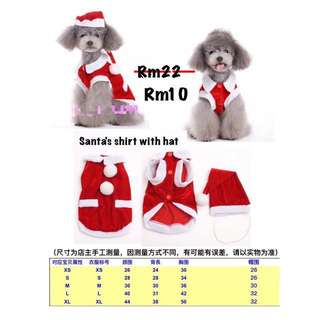 Christmas Shirt For Pets Summer Wear (Size S & Size XL) Clearance Sales.Ready Stock